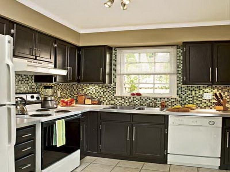 Dark Brown Painted Kitchen Cabinets
