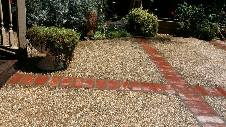 Exposed Aggregate With Brick Dividers Brick Design