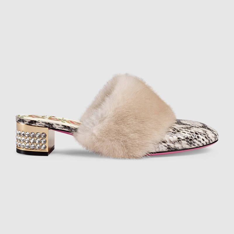 bb02003c4c55 Snakeskin slide with mink fur