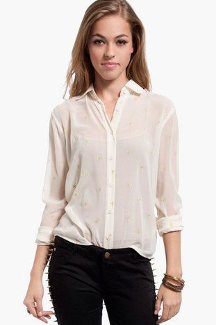Higher Power Button Front Blouse $21 at www.tobi.com