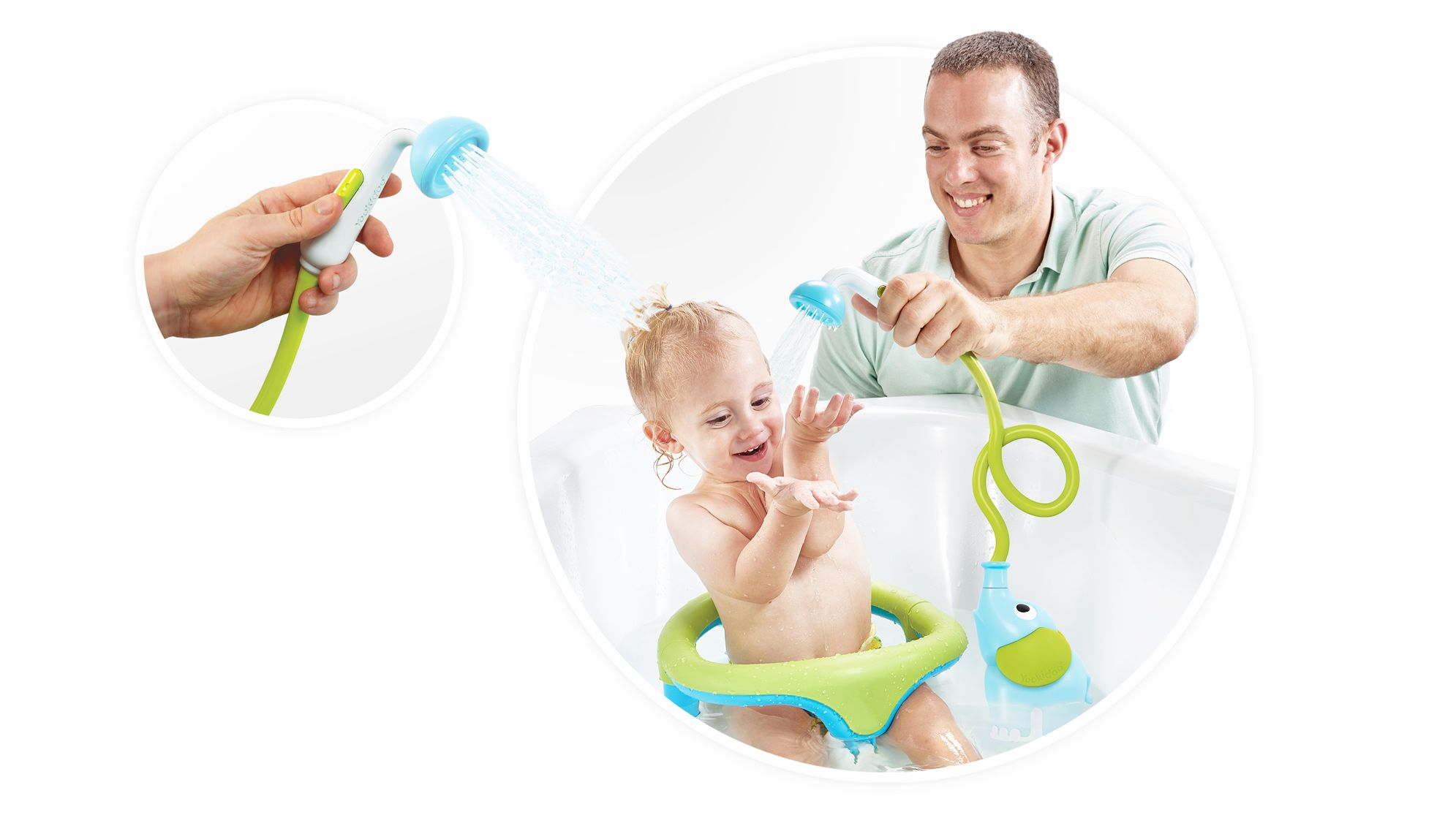 for Newborn Babies in Tub or Sink Yookidoo Baby Bath Shower Head Elephant Water Pump and Trunk Spout