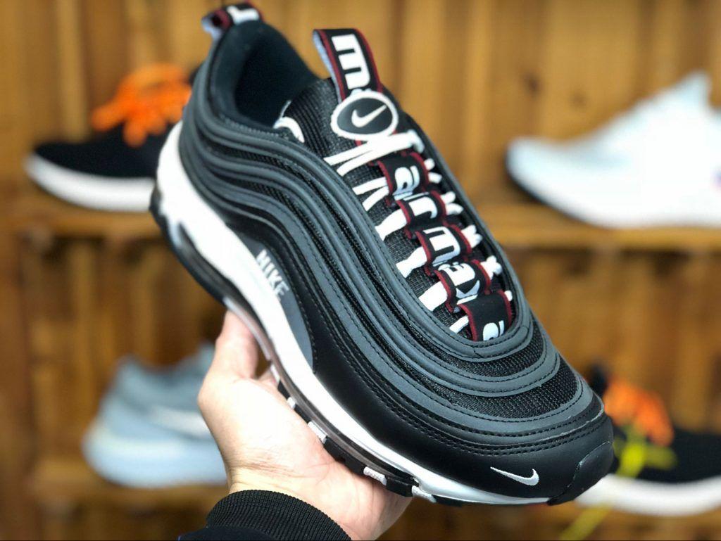 Men's Nike Air Max 97 Premium Black White Varsity Red 312834