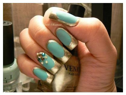 Loving This Beautiful Gold And Blue Jade Nail Polish They Make A Great Combination And Even Better If It Is More Opaqu Jade Nails Womens Nails Funky Fingers