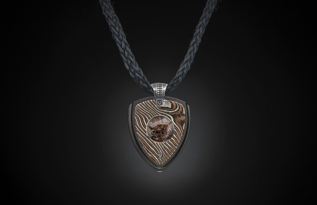 Guitar pick pendant in mokume gane inlaid with fossil dinonosaur guitar pick pendant in mokume gane inlaid with fossil dinonosaur bone aloadofball Gallery