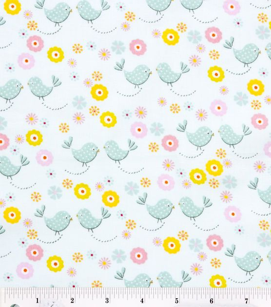 Nursery fabric little buds birds aqua babies babies for Bird nursery fabric