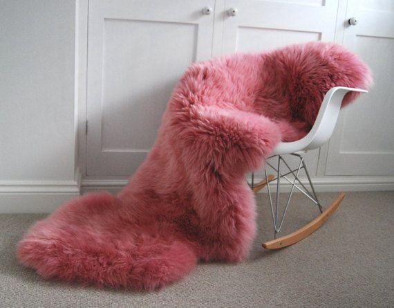 L Pink Sheepskin Rug Throw Gorgeous