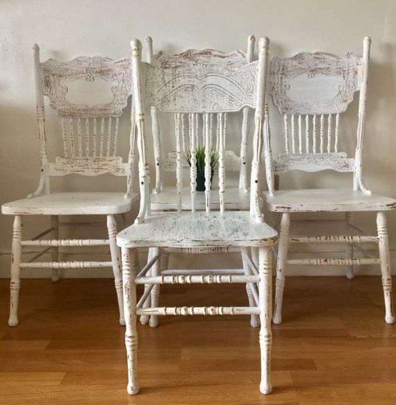 Vintage Farmhouse Chairs Solid Wood Painted White And Etsy Farmhouse Chairs Vintage Chairs Wood Chair