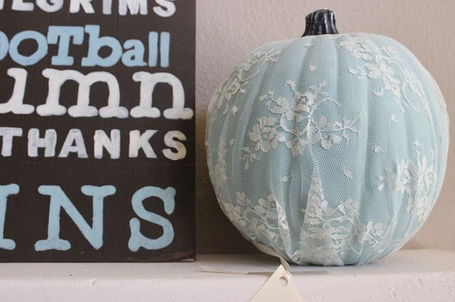 #Fall #Decorating Idea: Lace is hugely popular in both fashion and home decor. Use it over a pumpkin for a dressed-up autumnal look.