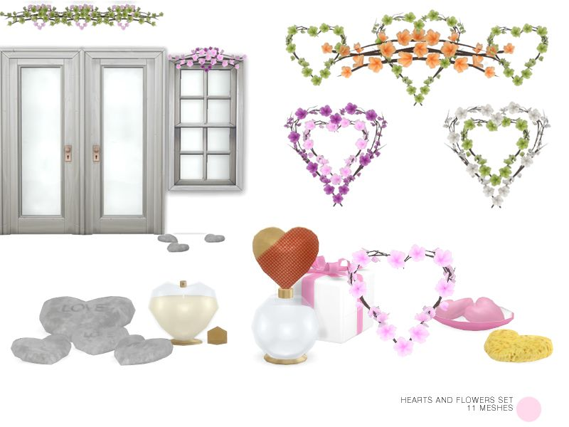 Hearts And Flowers Set Wedding Valentine Or Love Decorating
