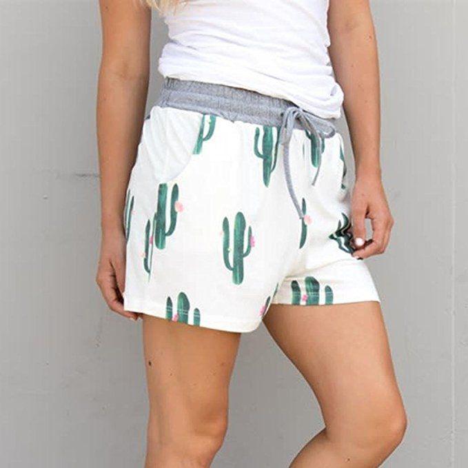1d6de17b127a71 Damen Elegante Shorts, ZARU Kaktus Druck Freizeitshorts Strand-Kurzschlüsse  Badeshorts Elastische Kurze Hosen mit