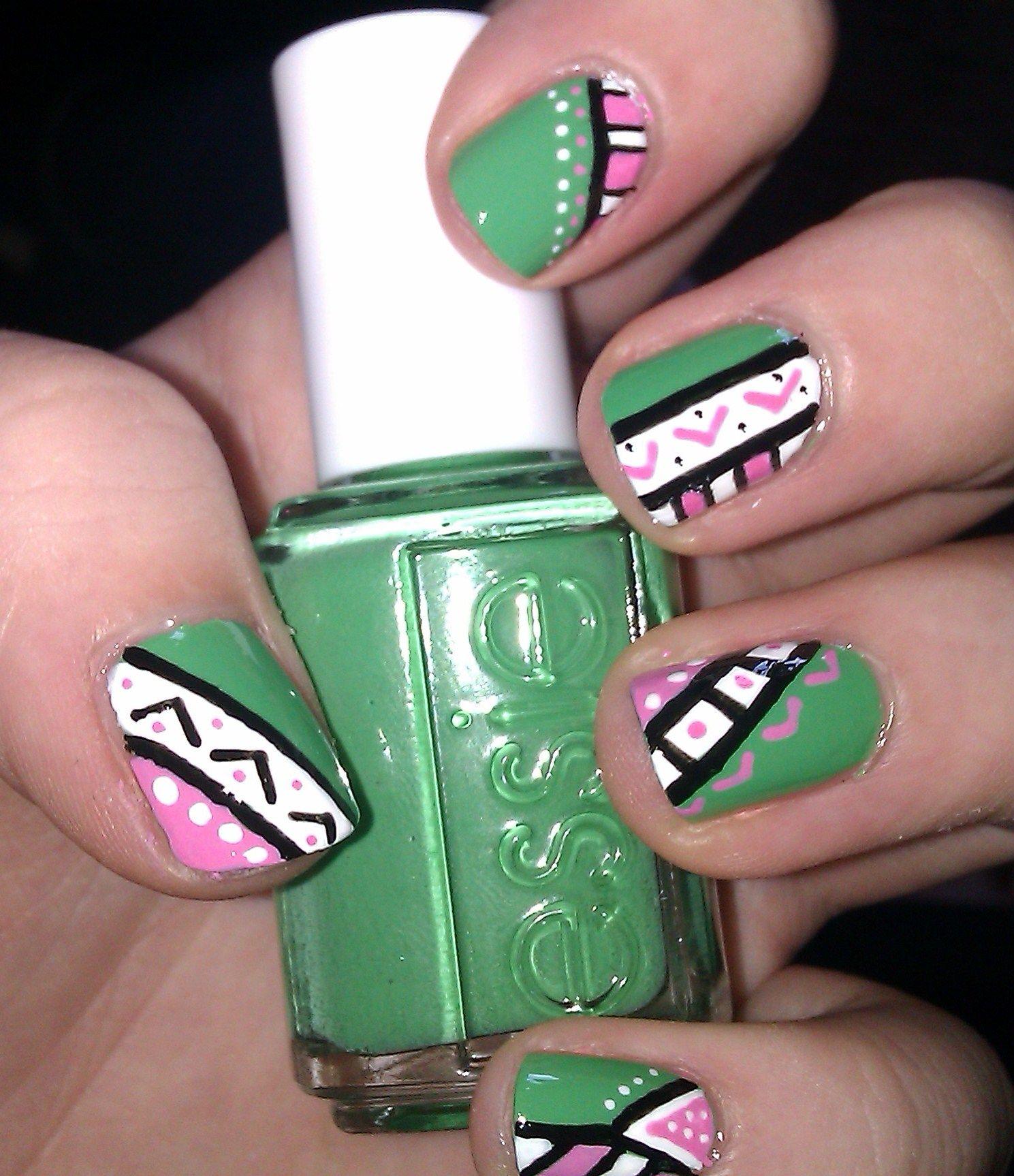 Aztec Design Nail Art | Designs nail art, Nail nail and Creative nails