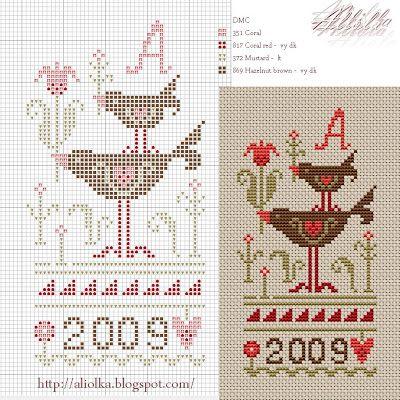 Мои творилки *** Aliolka design: Примитивные птички.(Схема)