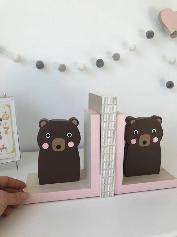Brown Bear Bookends Neutral Nursery Baby Woodland Decor Forest Themed Kids Modern Bookend