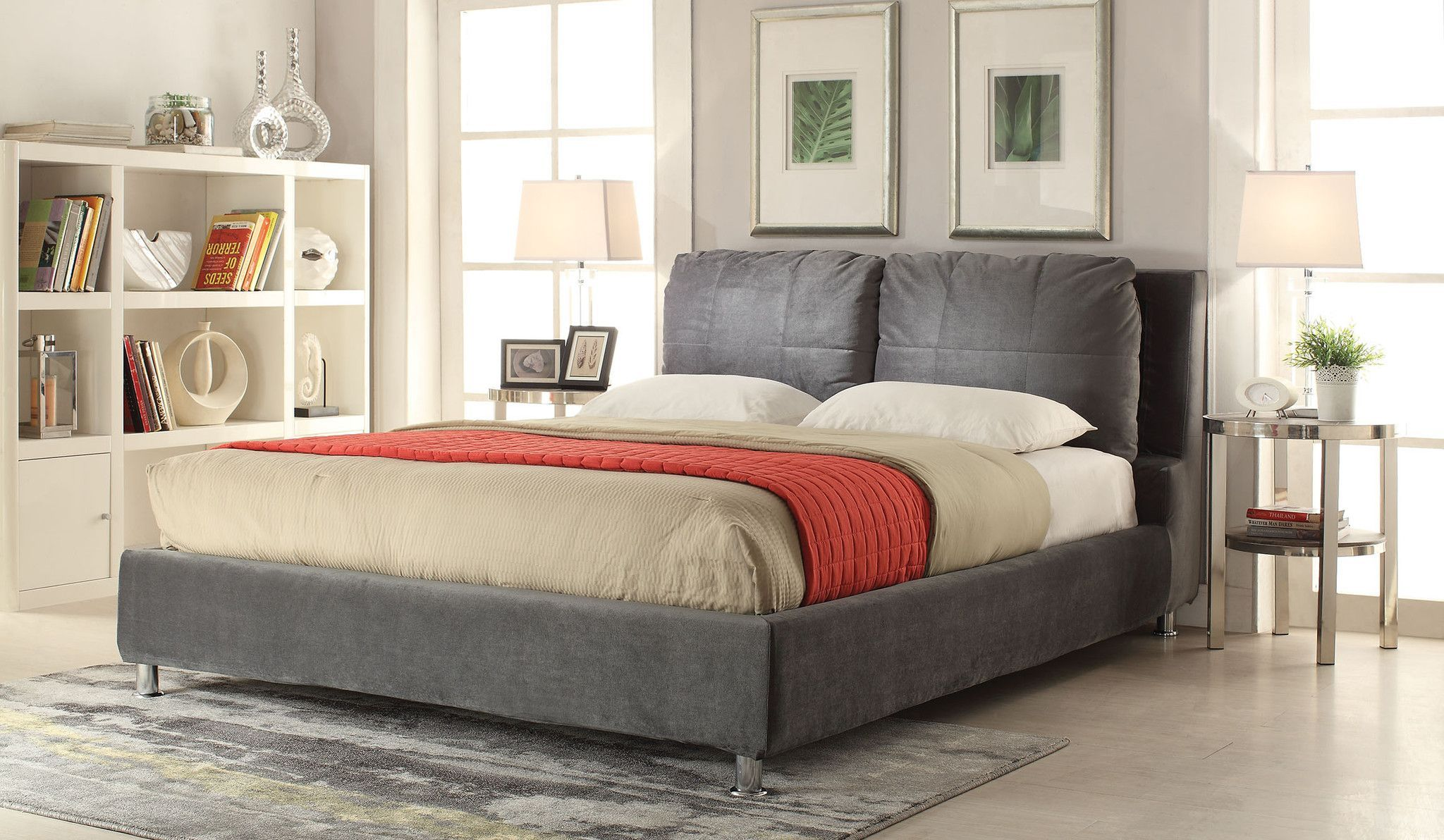 Bywilde Dark Olive Gray Fabric Queen Bed 25260q 418 Features No