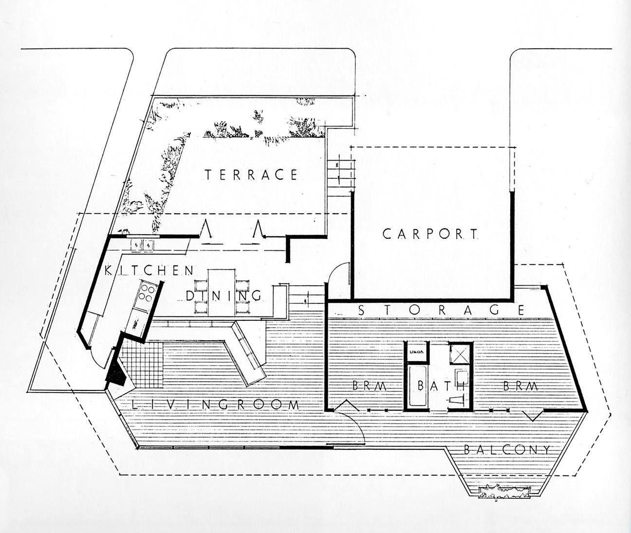 Floor plan of john lautner 39 s own home located in los for Floor plans los angeles