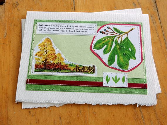 Sassafras  handmade sewn card by bluestemhandmade on Etsy, $5.00