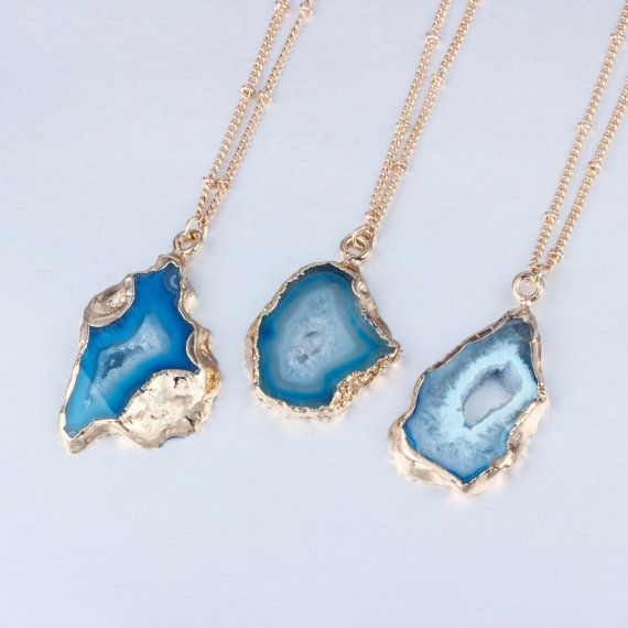Photo of Blue Quartz Pendant Gold Chain Raw Geode Necklace Hollow Druzy Stone Jewelry Irregular Stone Choker For Friends Magic Pendant