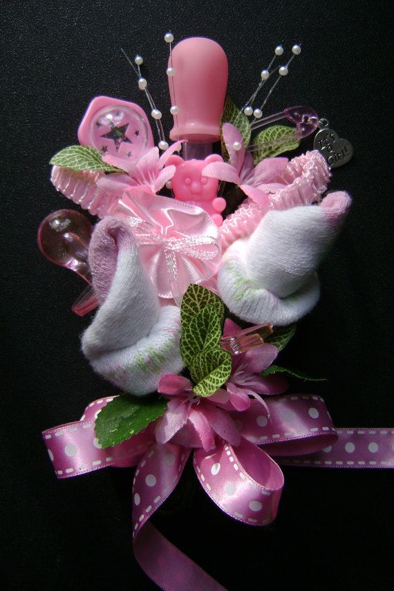 Baby Shower Corsage /Baby Girl Bootie Corsage /New Mom Corsage / Reusable  Baby Items