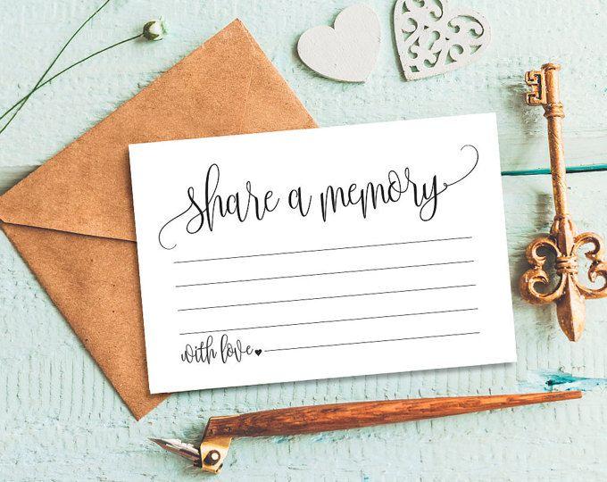 Share A Memory Card Memory Cards Share A Memory Printable Etsy Memorial Cards For Funeral Memorial Cards Card Template
