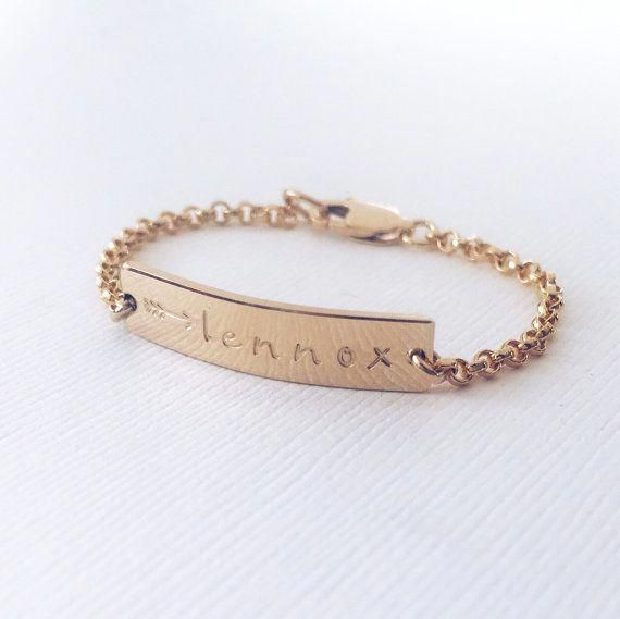 Personalized Baby Bracelet Gold Rose Or Silver Bar Silverbraceletforchild