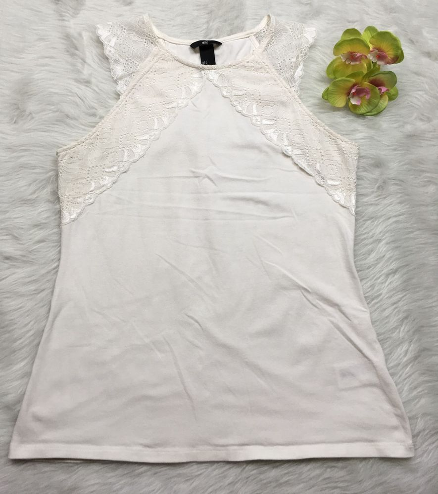 H&M Womens Large White Lace Top Sleeveless Stretch Knit Tank Top ...