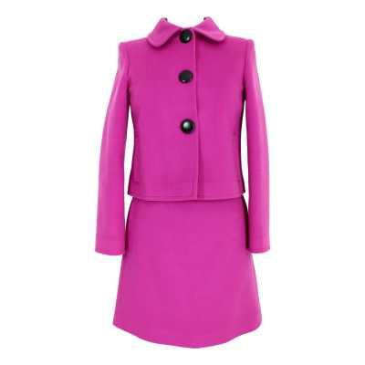 Blumarine Suit Dress Vintage Jacket Skirt Cashmere Wool Fuchsia
