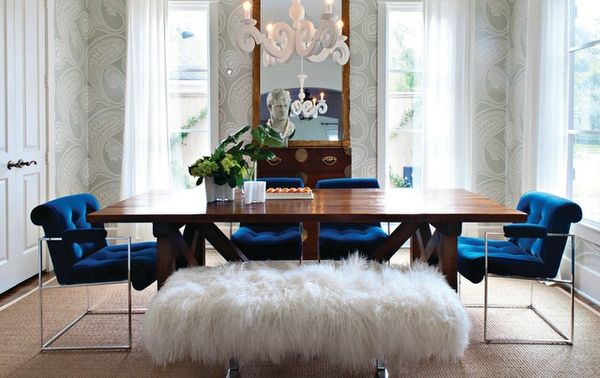 DINING ROOM / NAVY BLUE VELVET METAL CHAIRS / FUR STOOL BENCH