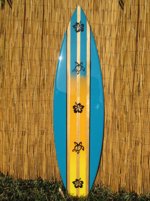 Wooden Decorative Turtle And Hibiscus Surfboard Wall Art