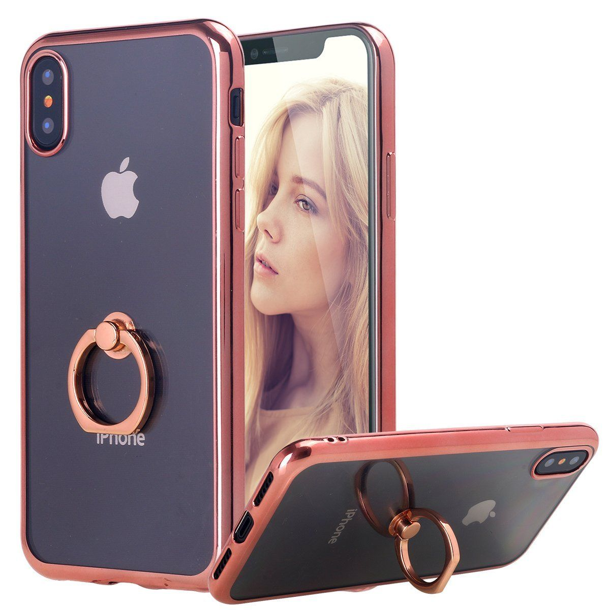 Iphone X Case Thin Clear Luxury Tpu Rose Gold Bumper Case Cover With Built In Ring Grip Holder For Apple Iphone X Rose Gold Iphone 10 Iphone Apple Iphone 4s