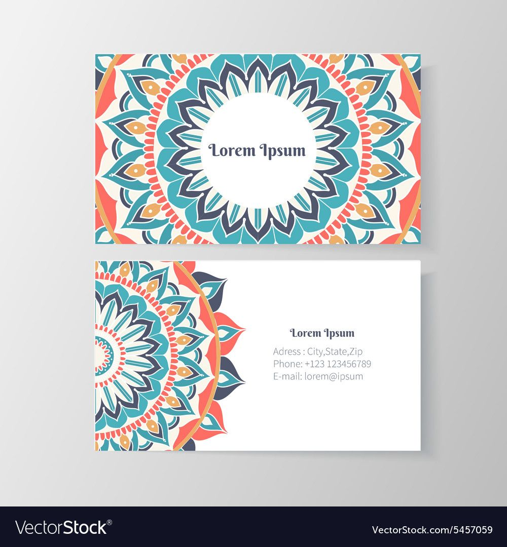 Business Card With Mandala Floral Pattern Creative Template