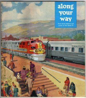 Vintage Santa Fe Super Chief Timetable, Fred Harvey Grand Canyon Postcard Set, Envelope c.1950