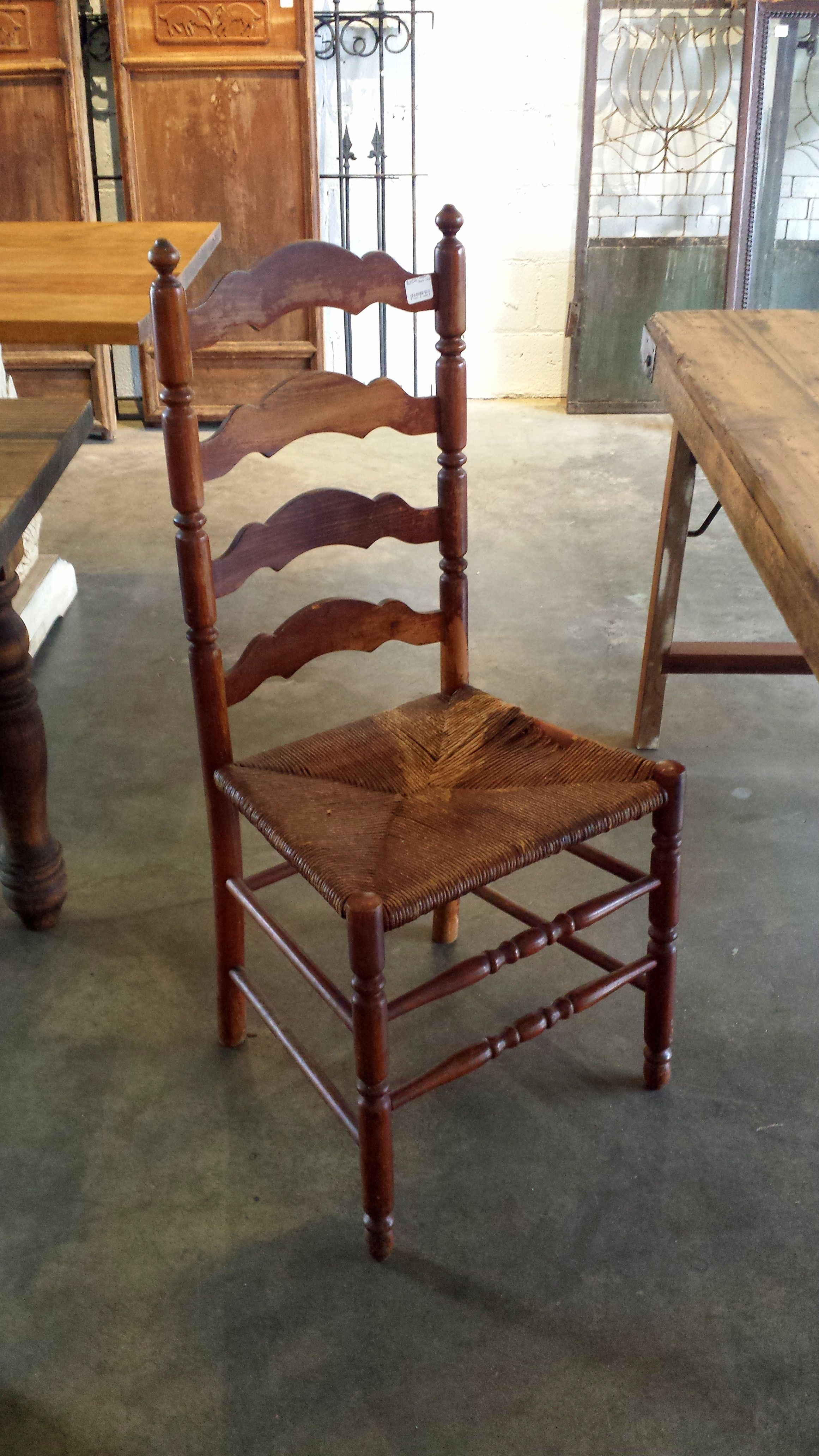 Vintage Wood Ladder Back Chair Upcycled