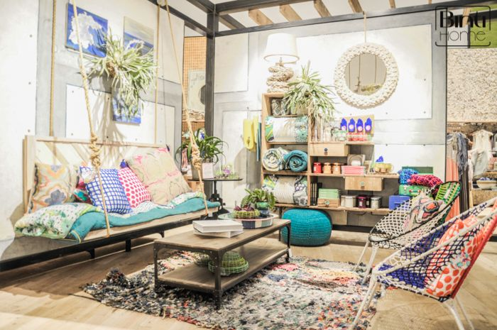 Anthropologie Los Angeles, eclectic living, hanging sofa