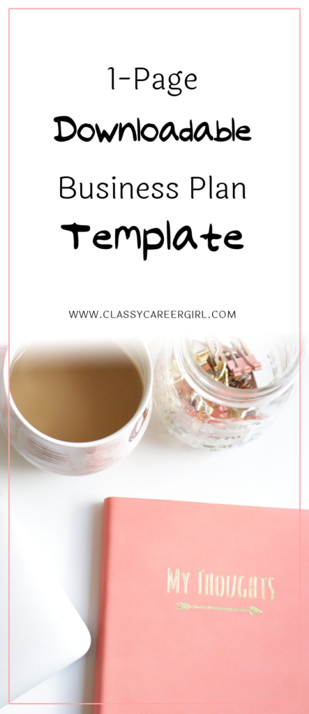 One Page Downloadable Business Plan Template  Business Planning