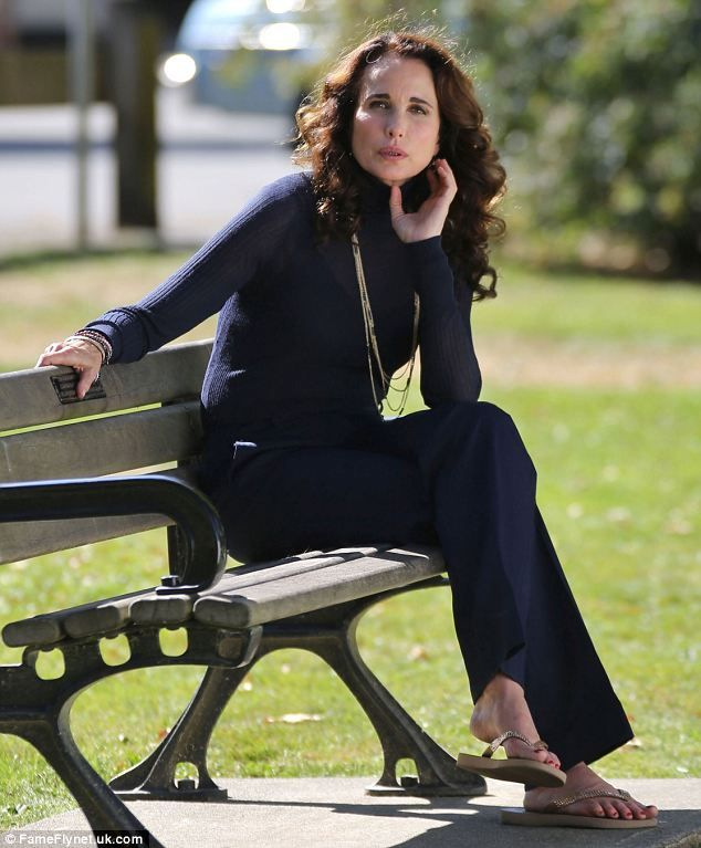 Classic chic: The star wore a simple navy outfit while shooting Cedar Cove in Vancouver