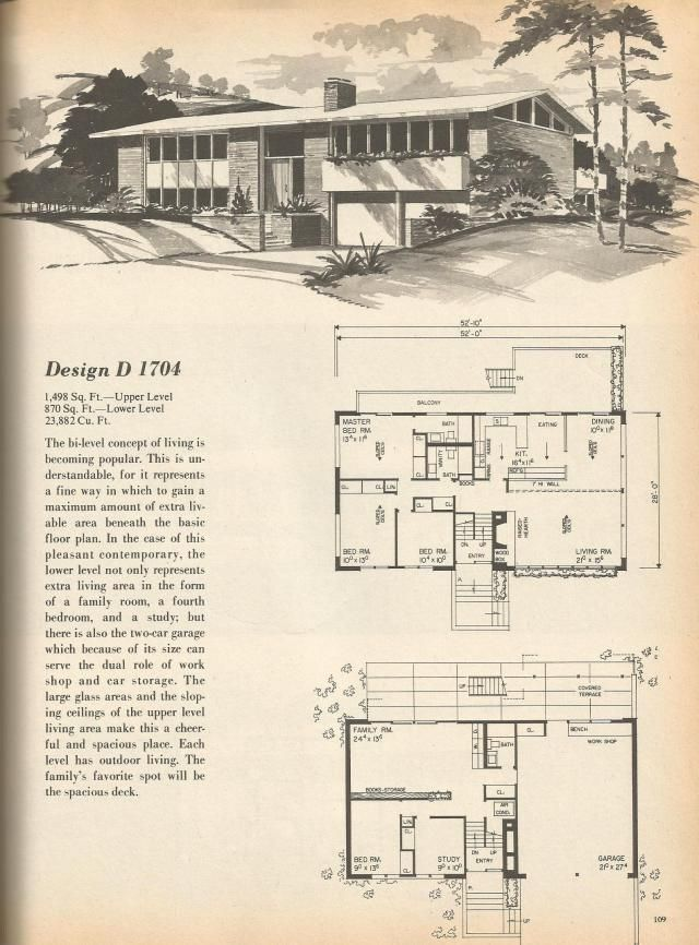 Vintage House Plans, Mid Century Homes architecture Pinterest