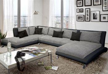 Canapé d\'angle en PU noir et tissu gris DUCCIO , meuble séjour et ...