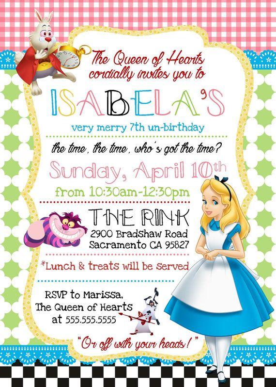 Alicia en el país de las maravillas invitación de cumpleaños | Alice ...