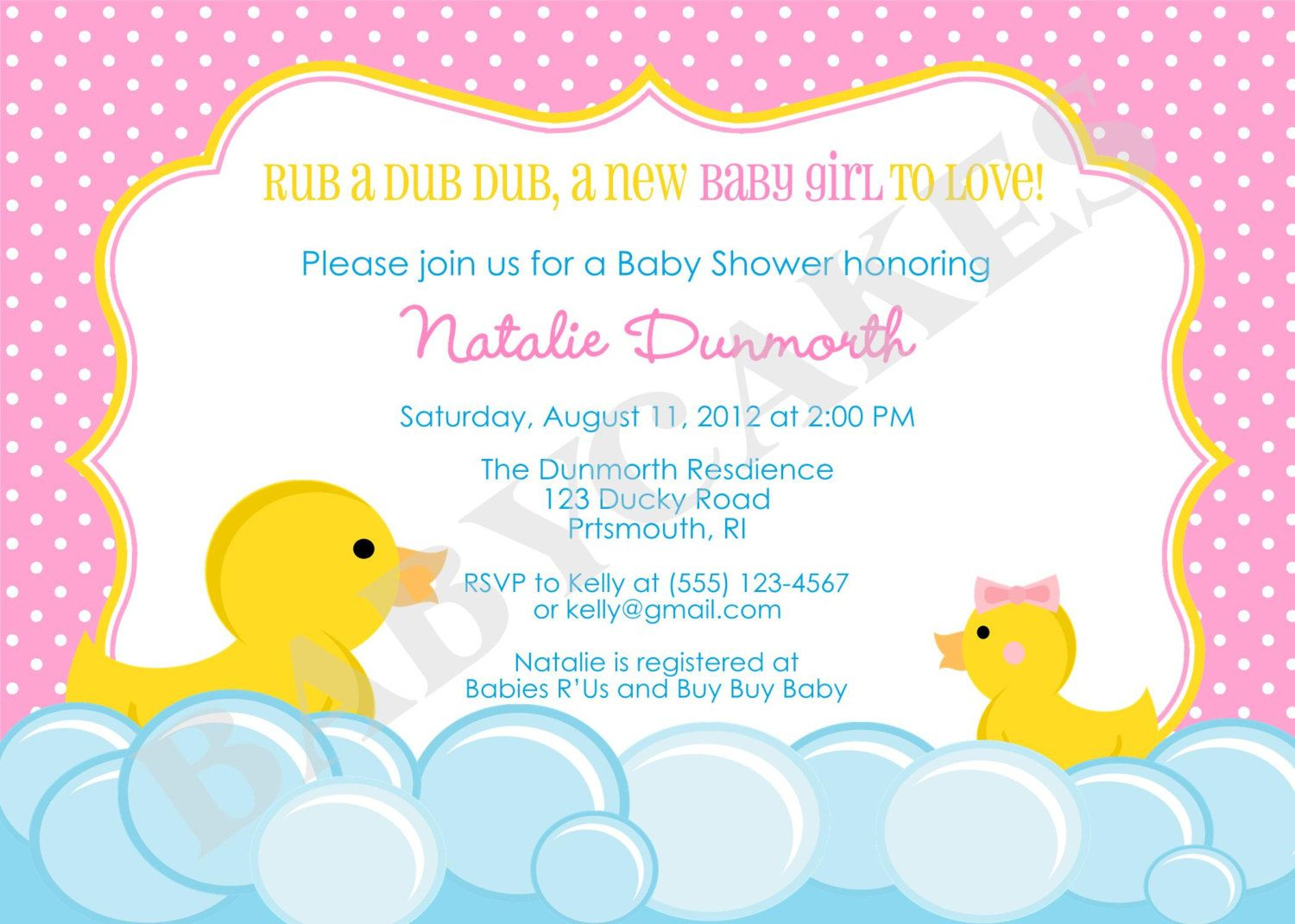 Rubber Duck Baby Shower Invitation DIY Print Your By Jcbabycakes, $11.00