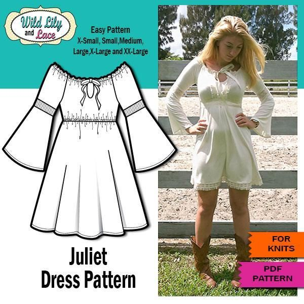 Boho dress with bell sleeves | Costura, Molde y Vestiditos