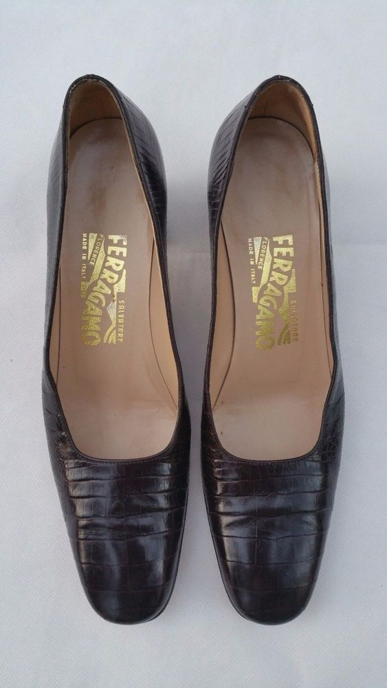 22bd99bb7 Salvatore Ferragamo Brown Crocodile Leather Women Shoes Size 8 AAAA   SalvatoreFerragamo  PumpsClassics  WeartoWork