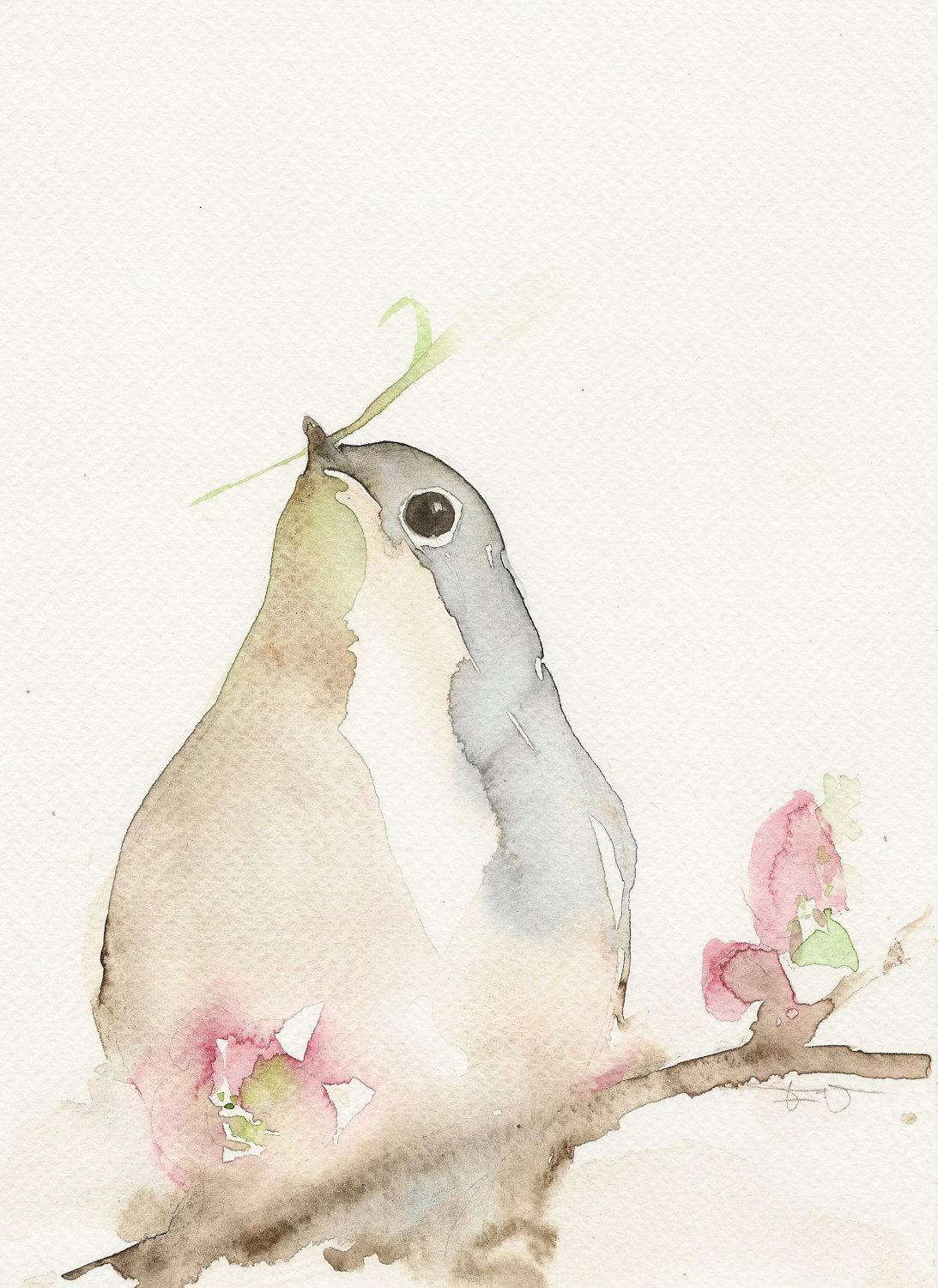 Bird Animal Painting Watercolor Art Giclee A5 By Francinamaria