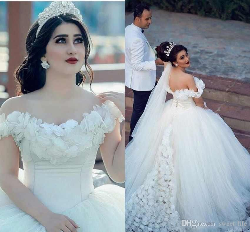 2019 Dubai Arabic Wedding Dresses Lace Appliques Off: 2019 Luxury Vintage Ball Gown Wedding Dress Dubai Arabic