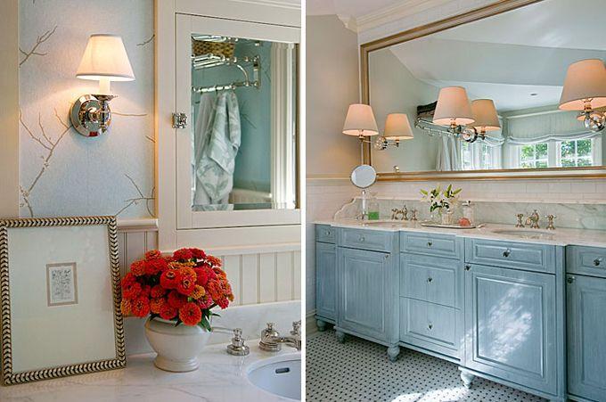 BHDM Design | Gold color scheme, Bathroom inspiration and Blue bath