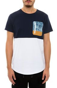Allston Outfitter The Color Block Zipper Tee in White Light Acid