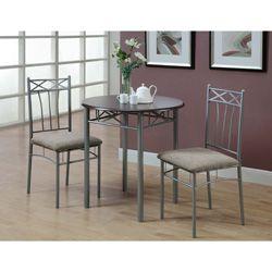 Monarch Cappuccino/ Silver Metal 3-piece Bistro Table Set ...