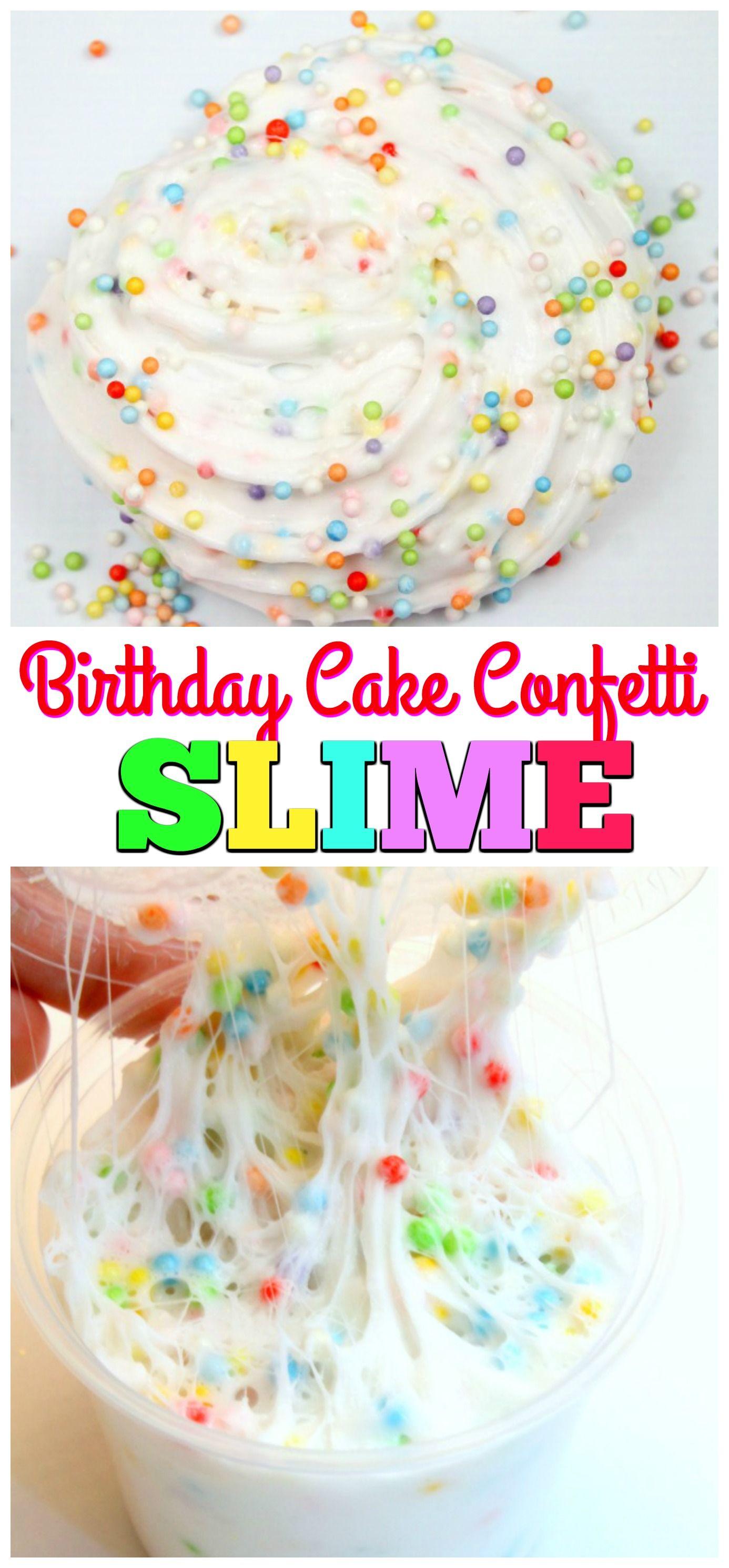 Birthday Cake Confetti Slime! It's So Fluffy
