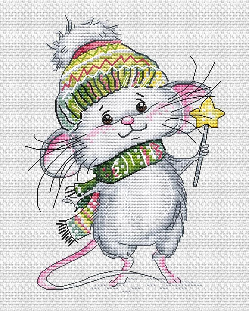 Little mouse with a ball Counted Cross Stitch Kit OVEN