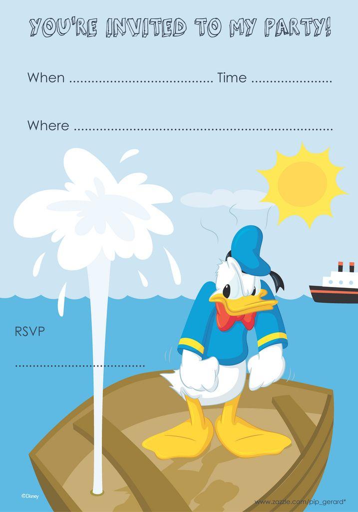 Donald Duck Birthday Invitation Free Printable Donaldduck Disney