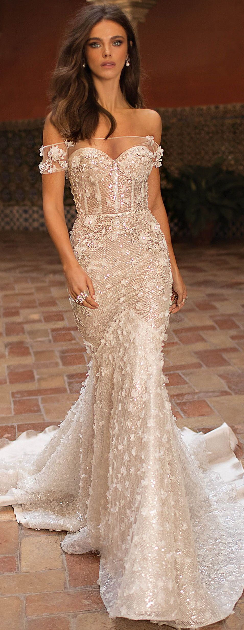 Wedding dress by BERTA Bridal Mermaid off the shoulder